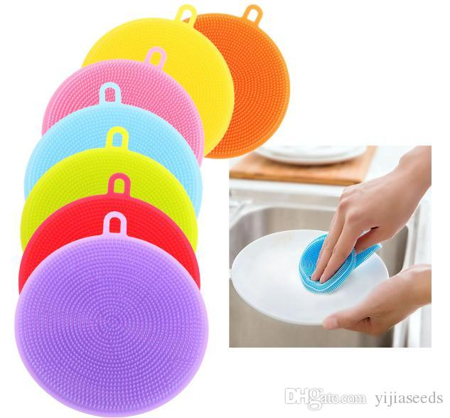 8 colors Food grade silica gel multi-purpose cleaning brush dishwasher brush can be used repeatedly Kitchen cleaning products