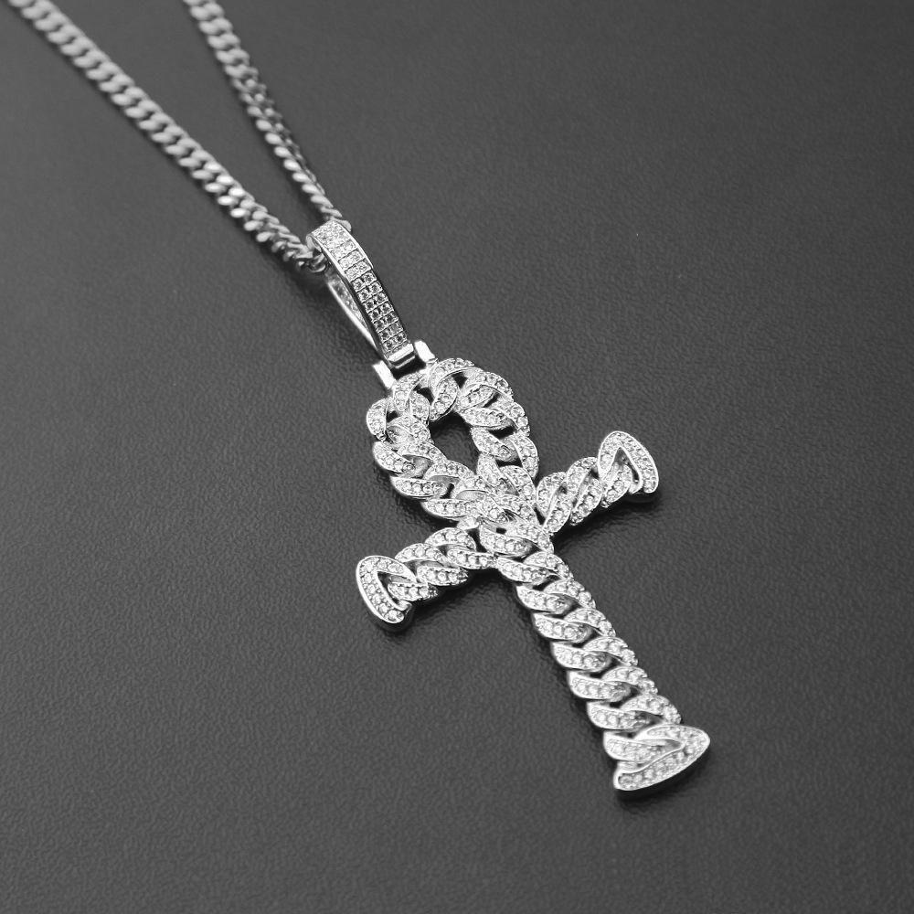 Iced Out oro argento Zircone Ankh chiave ciondolo gioielli d'oro croce cz egiziano chiave della vita ciondolo moda punk gioielli collana catena cubana