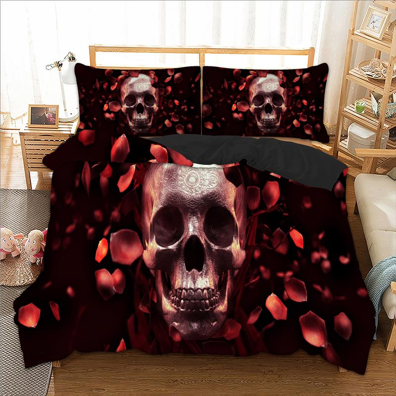 Skull Bed Linen Set USA Twin Full Queen King AU Single Super King Bedding Set Petal Duvet Cover Pillow Cases 3D Quilt Cover