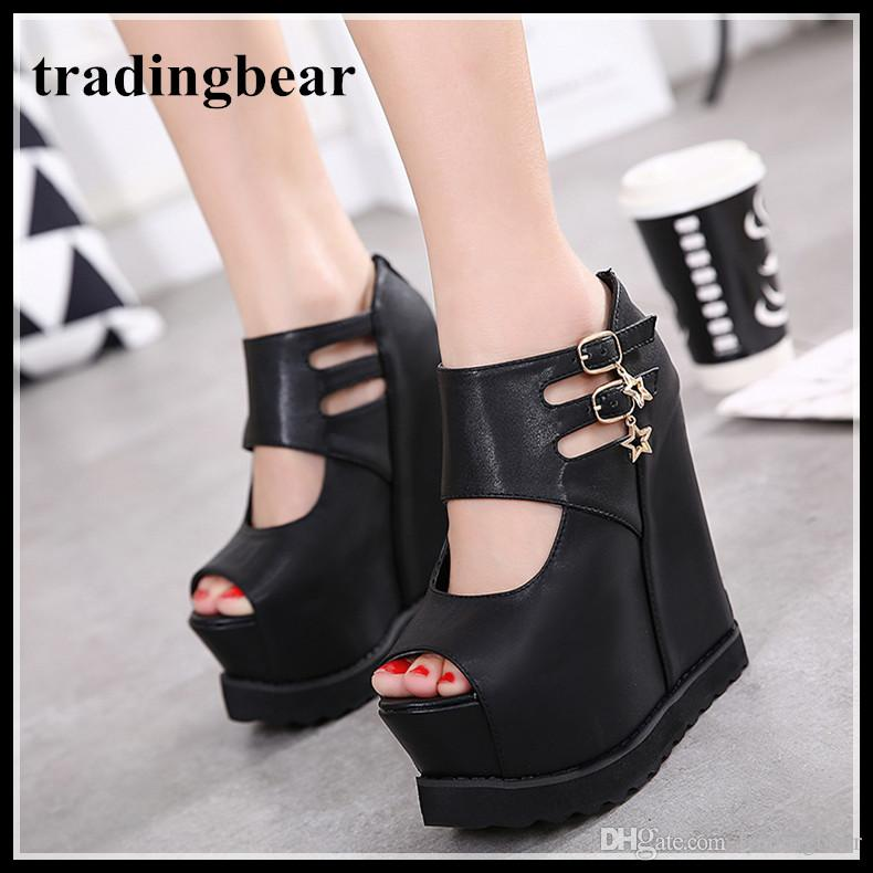 e726d465e55 Fashion Buckles Hollow Out Platorm Wedge High Heels Invisible Height ...