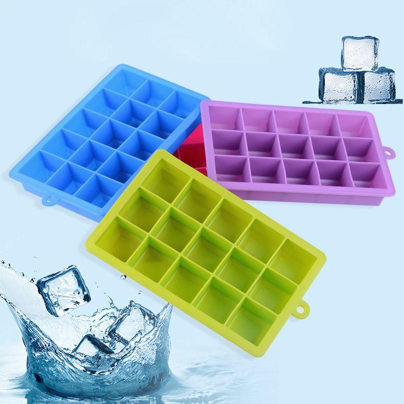 Neue 15 Quadrate Würfel Silikon Eis Ball Würfelschale Einfrieren Form Eiswürfelschale Eis machen Box Eisform für Bar Party Werkzeuge