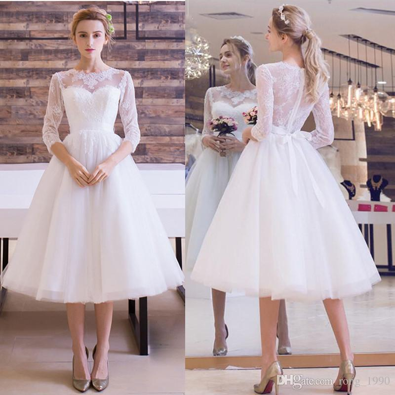 Vintage 1950\'S Short Beach Wedding Dresses 2018 Appliques Lace A ...