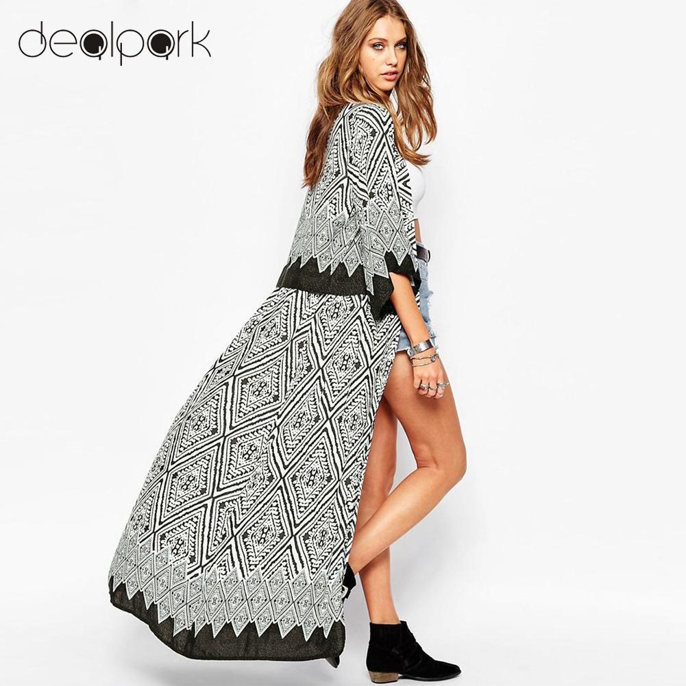 e4844173701a9 2019 5XL Plus Size Women Chiffon Kimono Cardigan Geometric Print Beach Boho  Outerwear 3XL 4XL Summer Loose Bikini Cover Up Blue/Black From Yanmai, ...
