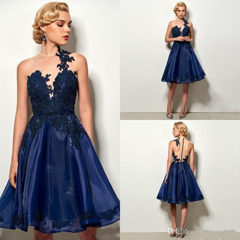 1f549e48fe Sexy Short Homecoming Dresses Sheer Jewel Backless Applique Lace Cocktail  Party Gowns Knee Length Simple Cheap Prom Dress Design Your Own Homecoming  Dress ...