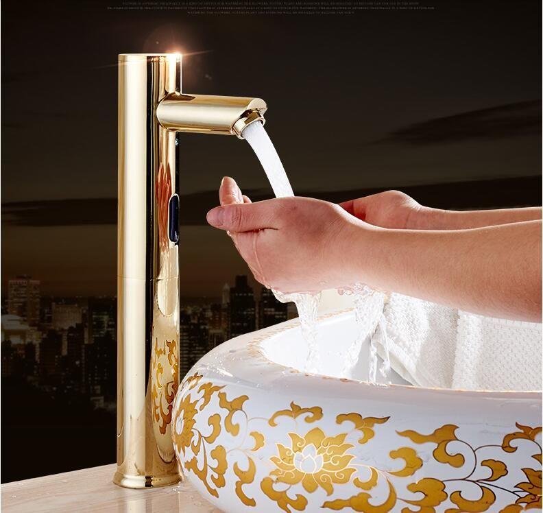 2018 Brass Bathroom Sink Faucet Basin Faucet Automatic Sensor Mixer ...