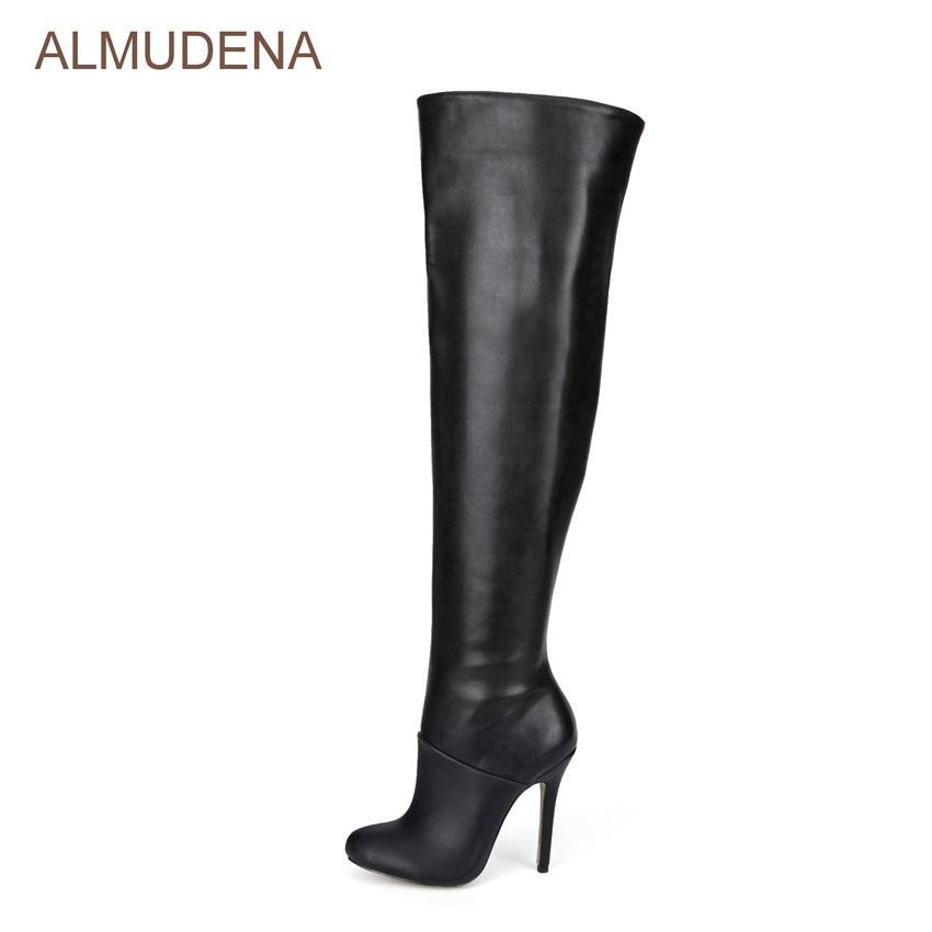 0c01e7995b82 ALMUDENA Celebrity Black Long Boots Size Zipped Thin High Heel Dress Boots  Patchwork Stage Gladiator Outdoor Chic Shoes Boots No 7 Bootie From  Bestname