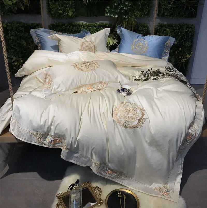 Großhandel Weiß Rosa Blau Luxus Königliche Stickerei 100 S
