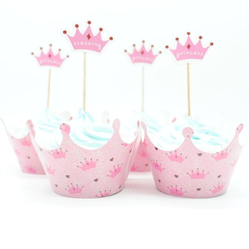 Großhandel Prinzessin Crown Cupcake Wrapper Topper Picks Baby