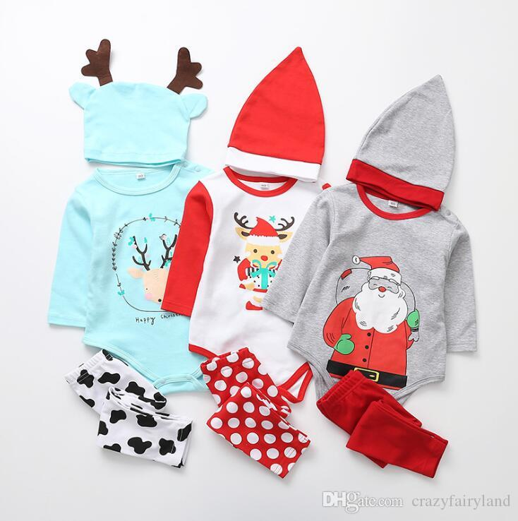 114100965 2019 Set Kids Christmas Clothing Set Outfits Children Long Sleeve Cottton  Christmas Santa Claus Elk Romper Jumpsuit Pants Hat Clothes From  Crazyfairyland, ...