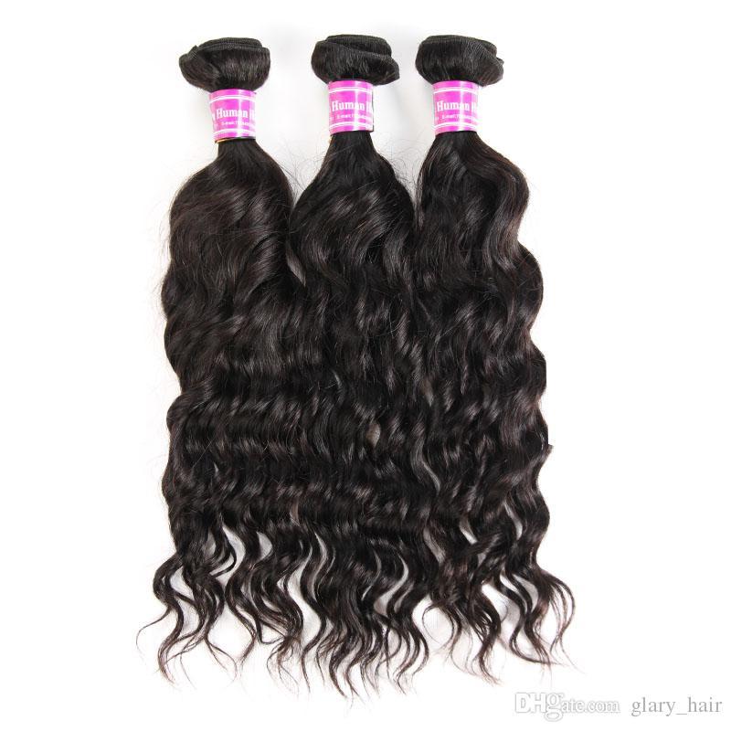 Mink Brazilian Virgin Hair Weft Water Wave 8inch-26inch Wet & Wavy Virgin Hair Bundles 8a Grade Unprocessed Natural Culry Human Hair Weaves