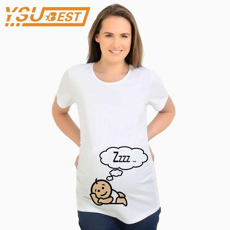 d38a1dc1a Compre Novo 2018 Verão Maternidade Top Tees Para Mulheres Grávidas Algodão  Casuais Camiseta De Moda Roupas Para Mães De Enfermagem Do Bebê ZZZ Sono De  ...