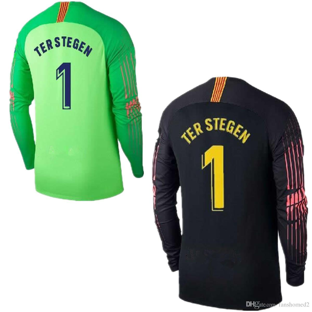 Compre 2018 2019 Adultos Camiseta De Fútbol De Manga Larga Ter Stegen  Goalkeeper Jersey   1 Marc Andre Ter Stegen Camiseta De Portero Camisetas  Negras ... 481fbf84d2148