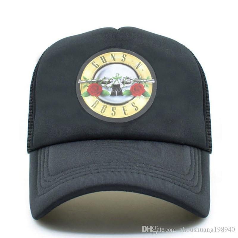 Men Women Cool Rock Music Trucker Mesh Caps Guns N  Roses Cap Women ... 8ad1fc54014d