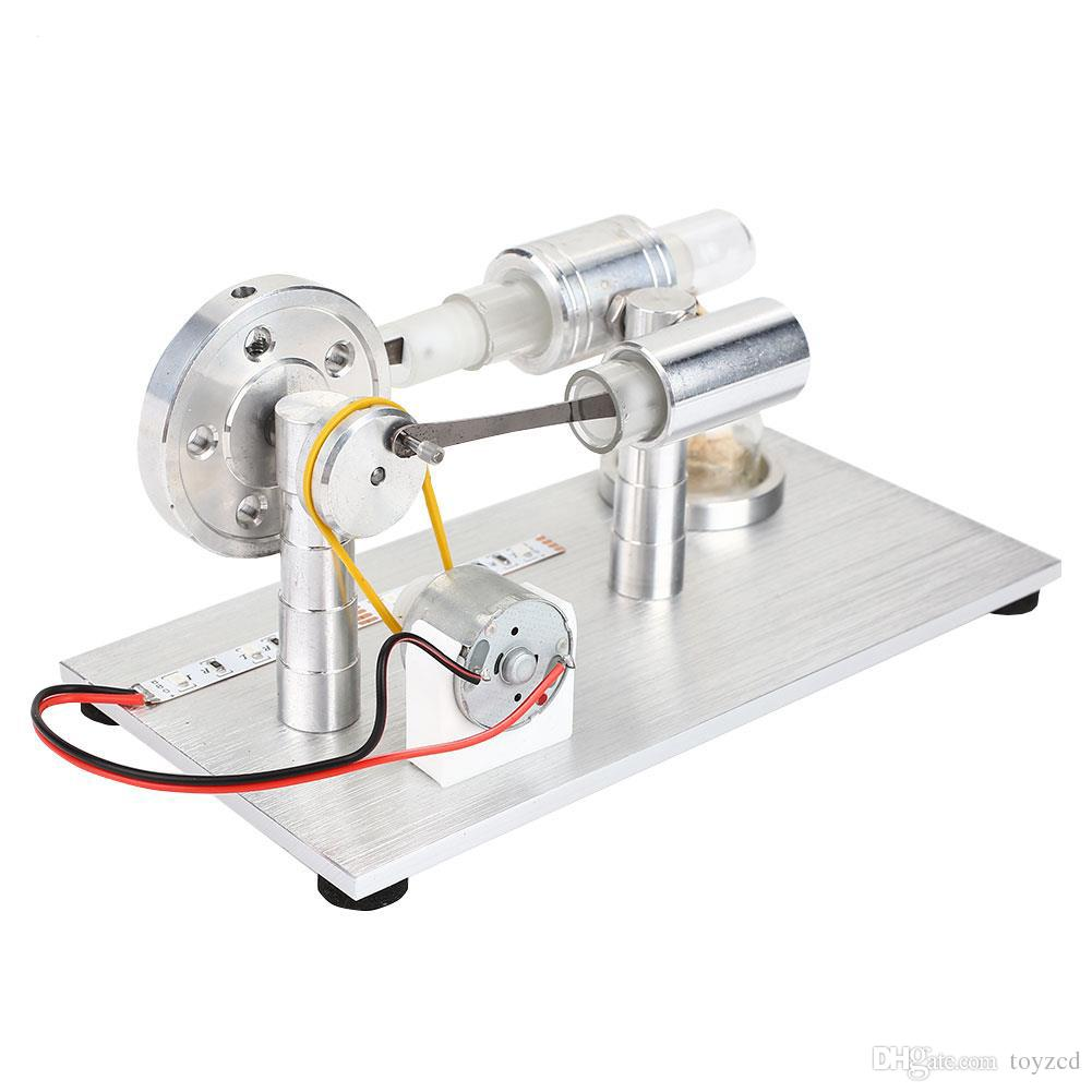 New Creative Hot Air Stirling Engine External Combustion Model Electricity  Power Generator with LED for Physics Education