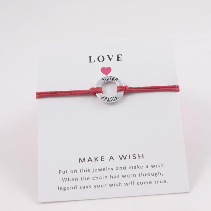 Silver Crown Charm Wax Cord Wish Card Bracelets Adjustable Charms Bracelets For Women Men Friendship Gift With Love Card Jewelry & Accessories Charm Bracelets