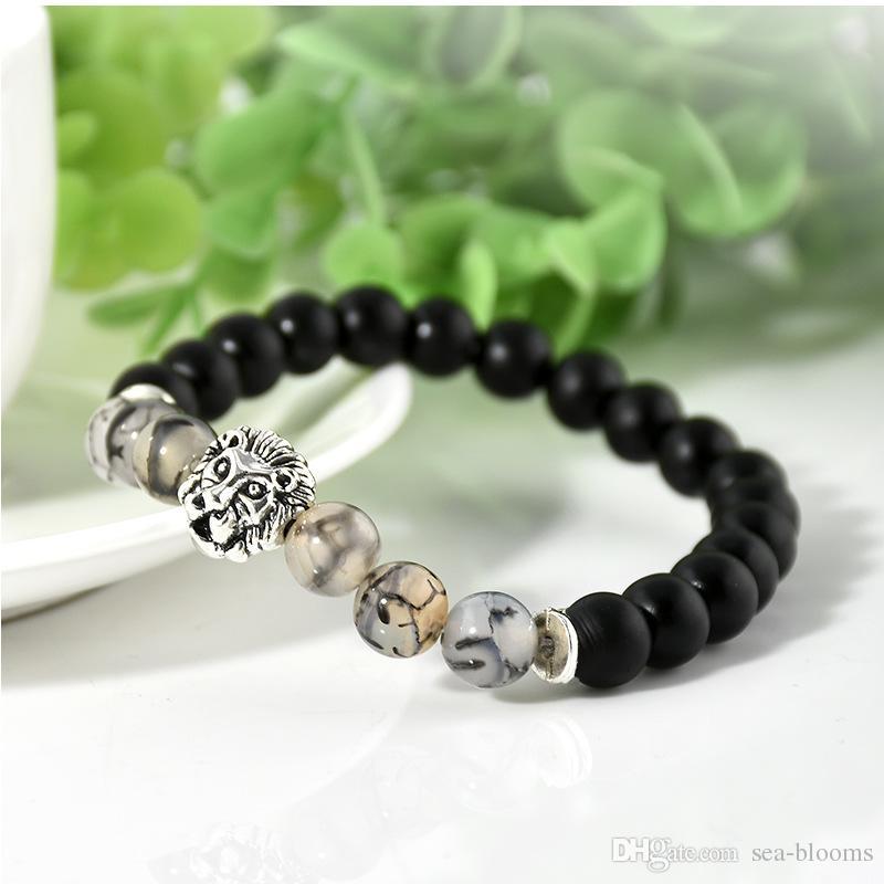 Natural Matte Black Silver Lion Head Buddhist Buddha Meditation Beads Bracelets Jewelry Prayer Bead Bracelet G105S
