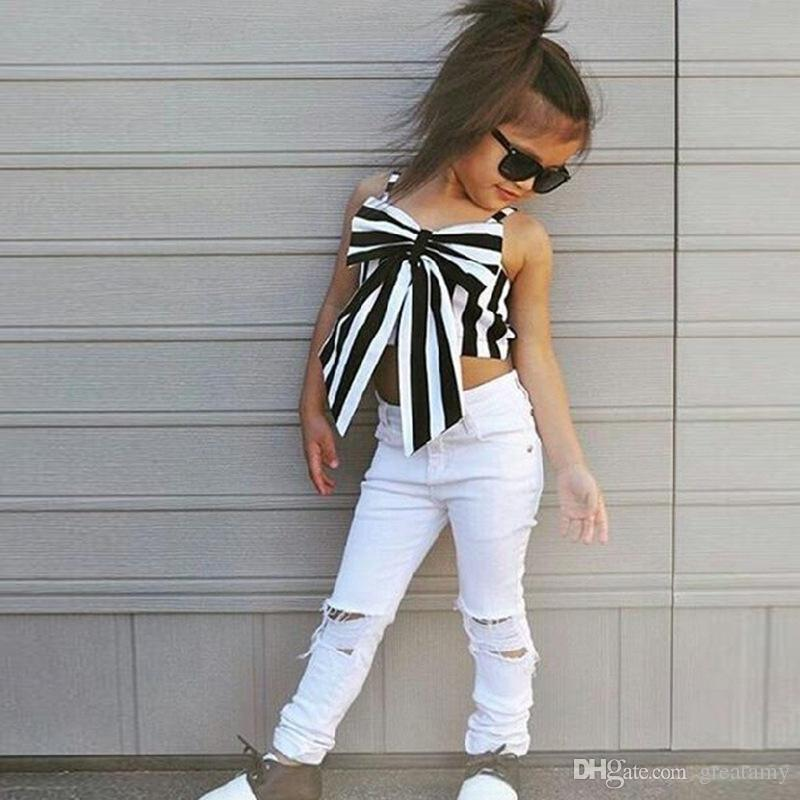 baby girls summer outfits striped big bow top T-shirt+ hole pants kids suits striped children princess clothes outfits