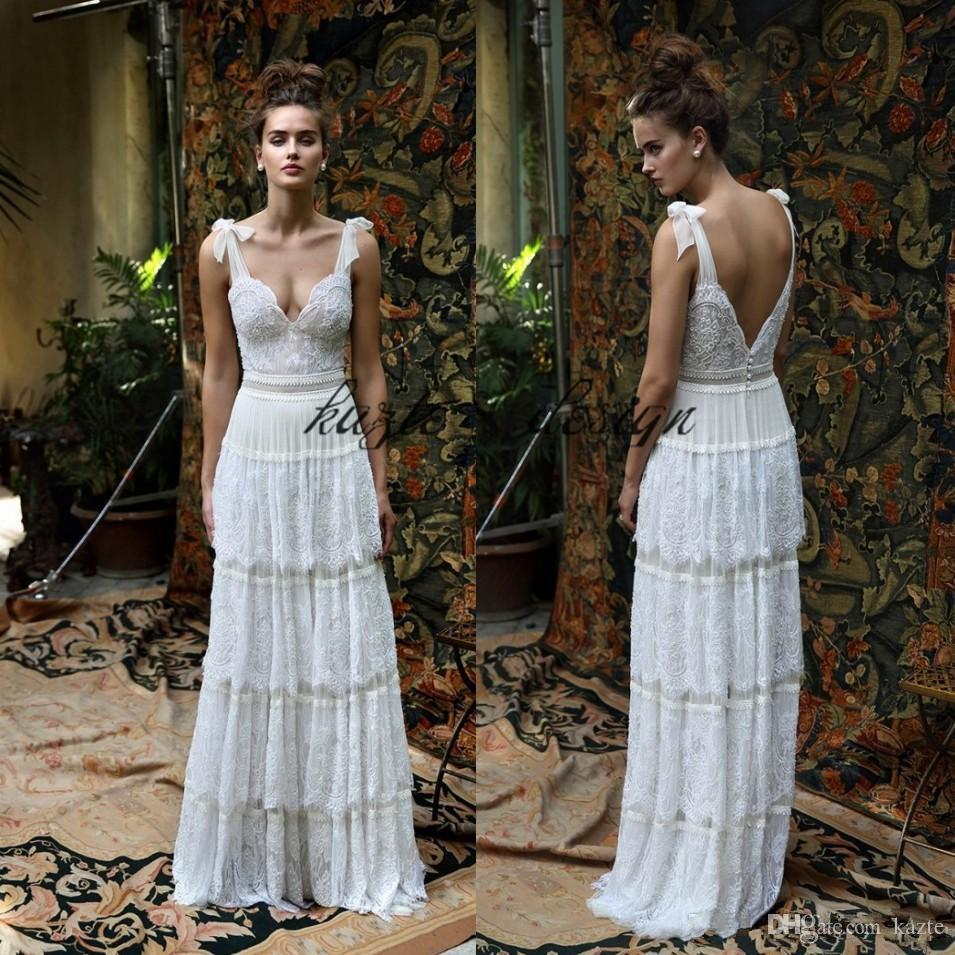 Vintage 1920s Soft Lace Country Wedding Dresses 2018 Cake Tiered Skirt Lihi Hod Spaghetti Bohemian Beach Holiday Free People Bridal Dress