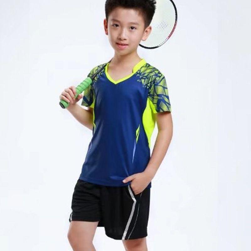 new concept 81598 ad4f0 New Boy Tennis Anzug Kurzarm T-Shirt Jungen Fußball Jersey Kinder Fußball  Jersey Fußball Set Jugend Uniformen Badminton Anzug