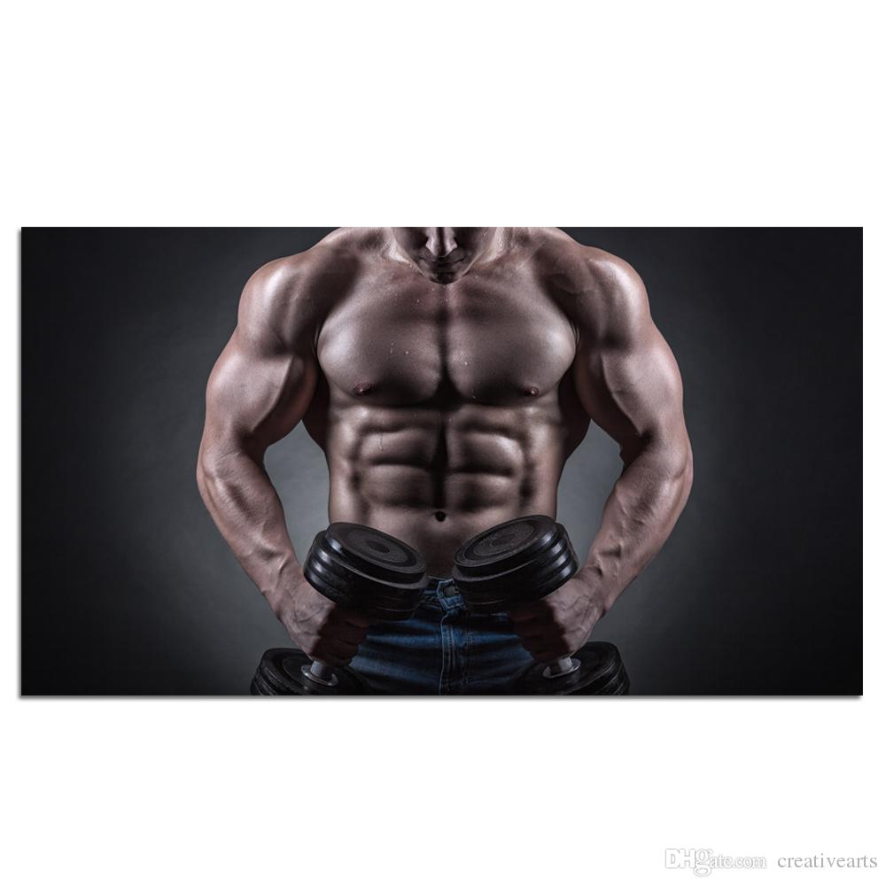 Sexy Man Wall Art Muscular Bodybuilder Man Exercising with Dumbbell Muscle  Male Gym Poster Prints Unframed/Unstretched