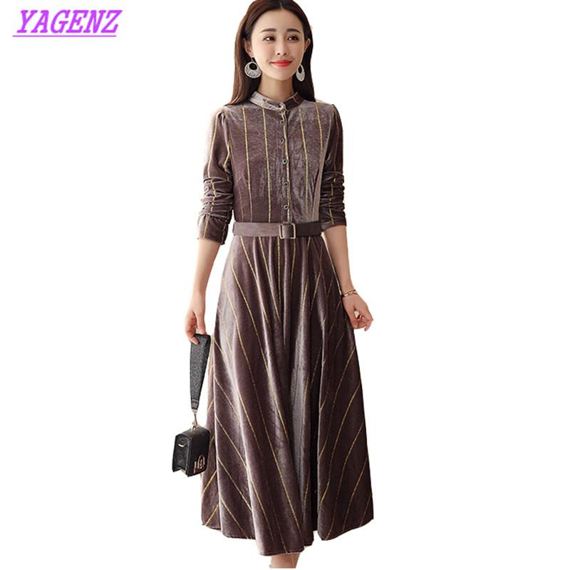 Gold velvet Dress Spring Autumn Plus size Women Thin knee Long Dress Young Ladies Stripe Stand collar Wild Bottom 4XL B632