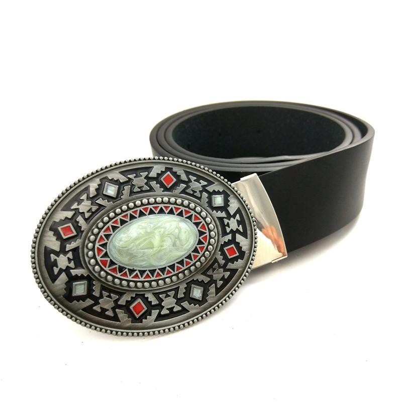 70f9795186c7 Compre Ropa Masculina Accesorios Para Jeans Cinturón De Cuero Negro Hombres  Hebilla De Cinturón De Vaquero Con Color Piedra Mosaico Cinturones  Decorativos ...