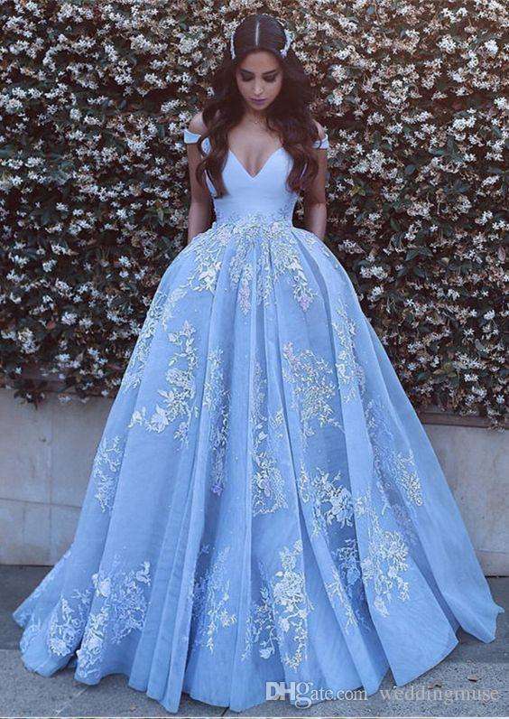 Nuevo 2019 Vestidos de noche Árabe Fuera del hombro Sexy apliques Encaje Azul cielo Vestidos de baile Vestidos largos de noche