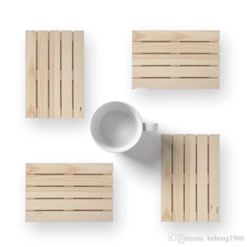 Palette Coasters Rectangle Mini Wooden Whiskey Wine Glass Cup Table Mat Pad Hot Cold Drink Bar Tool 4 8yk V