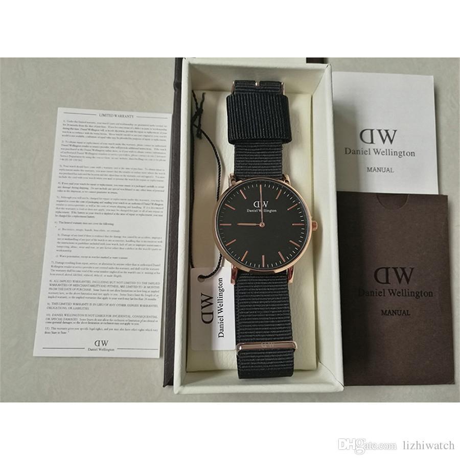 88c2c99078bf Fashion Black Face Daniel Wellington Watches Fashion Leather 40 36mm Rose  Gold Women Mens Watch Dw Luxury Brand Quartz Wristwatches Reloje Skeleton  Watch ...