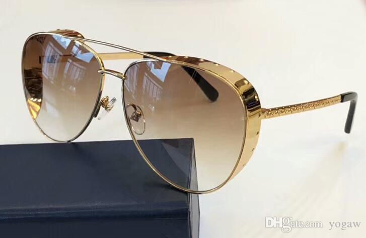 9b26e59d6f5 Las Vegas Parano Gold Studs Pilot Sunglasses Brown Shades Gafa De Sol  Sonnenbrille Luxury Designer Sunglasses Glasses New With Box Prescription  Glasses ...