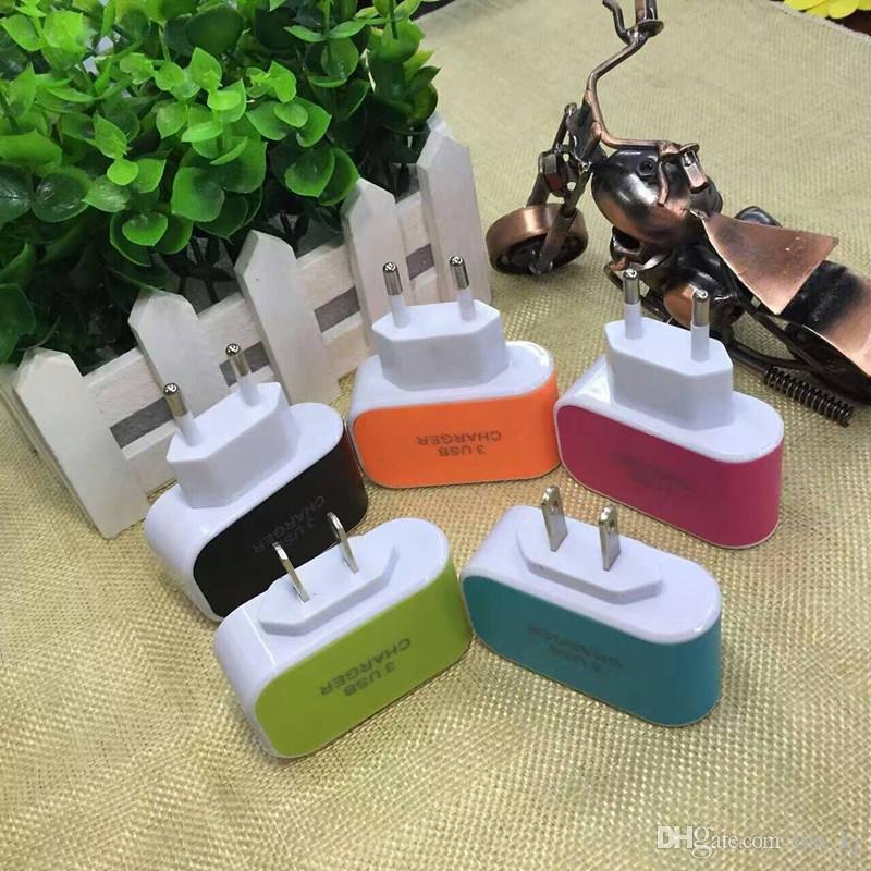 US EU Plug 3 USB carregadores de parede 5V 3.1A Adaptador de LED viagem cómoda Power Adapter Para 5 6 7 x samsung Huawei lg HTC Mobile Phone