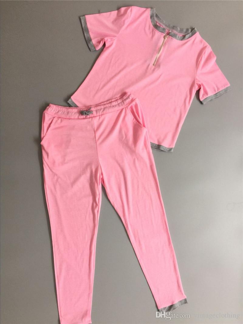 Moda Rosa Verão Mulheres 2 peça set Fatos de Treino Mulheres Terno camiseta Com Calças de Jogging Fatos