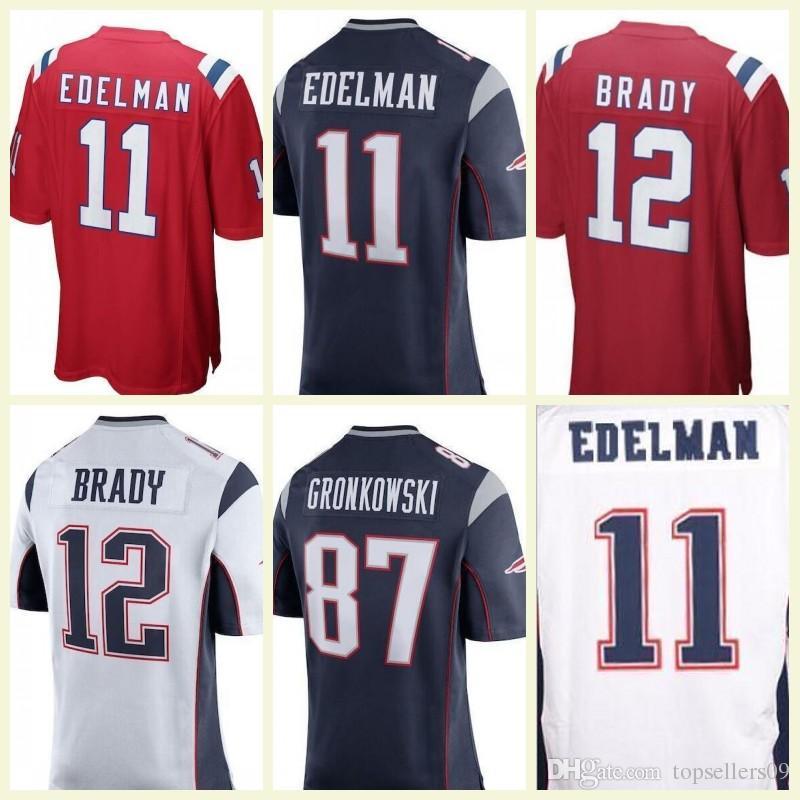 Men s Womens Kid New  12 Tom Brady Patriots Jersey 11 Julian Edelman ... dbeb4b3c7