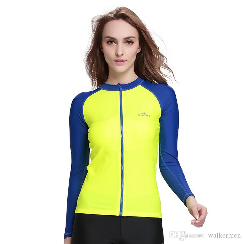 f182c2d65d Cheap NEW Womens Long Sleeve Swimwear Rashguard Tops Windsurfing UV  Protection Swimsuit Surfing Drifting Snorkeling Wetsuit Jacket Drop  Shipping L