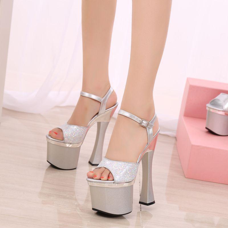 54eb064f937 wholesaler free shipping factory price hot seller fashion peep toe 18cm  heel club high heel women sandals 180