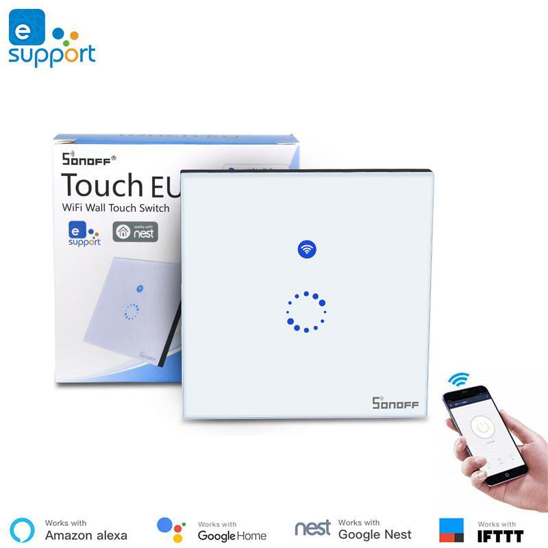 eWeLink App controle Painel de Vidro de Luxo Toque Interruptor de Luz LED  Sonoff Toque WiFi interruptor inteligente da UE padrão de trabalho com a