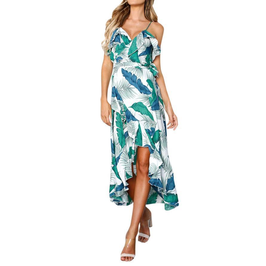 b1313cf2da73b Women Leaves Printed Boho Dress V-Neck Ladies Summer Beach Sundress Ruffles  Asymmetric Hem Vintage Dresses #BF