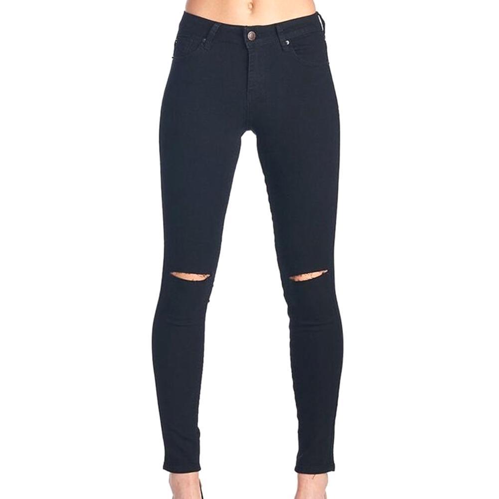 d222530002158 Acheter Style D'été Blanc Trou Déchiré Jeans Femmes Jeggings Cool Denim  Taille Haute Pantalon Capris Femme Skinny Noir Occasionnels Jeans De $35.77  Du ...