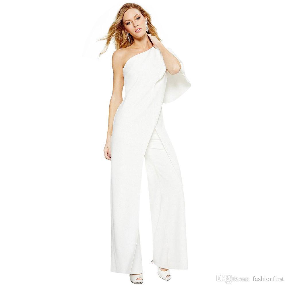 ab71d6d6a0b0 2019 Sexy One Shoulder Wedding Wide Leg Pants Evening Jumpsuits Bridesmaid  Wedding Romper Elegant Pink Black Sapphire Blue White Bridal Jumpsuit From  ...