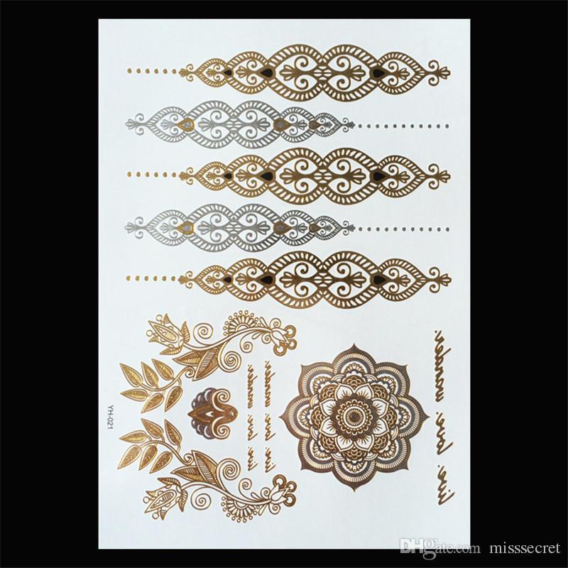 Flash Métallique Or Argent Tatouages Temporaires Imperméables De Tatouage Fournitures Henné Fleur Collier Bracelet Bâton De Tatouage Paster 120 Styles