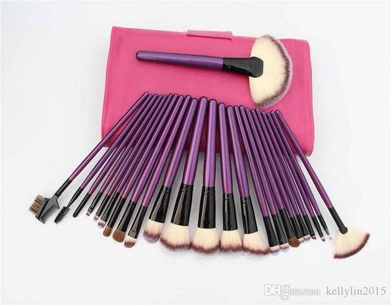 24 adet Makyaj Fırçalar Setleri Profesyonel Siyah Mavi Mor Comestic makyaj Fırçalar Seti Pudra Göz Farı Vakfı Fırça ile Deri çanta
