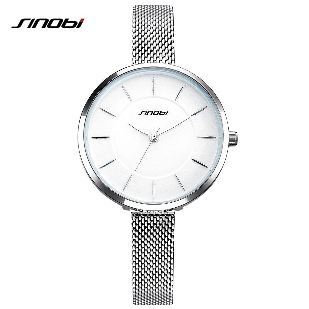 7bd0d9574 Silver Watch Women Fashion Elegant Wristwatch Sinobi Stainless Steel ...