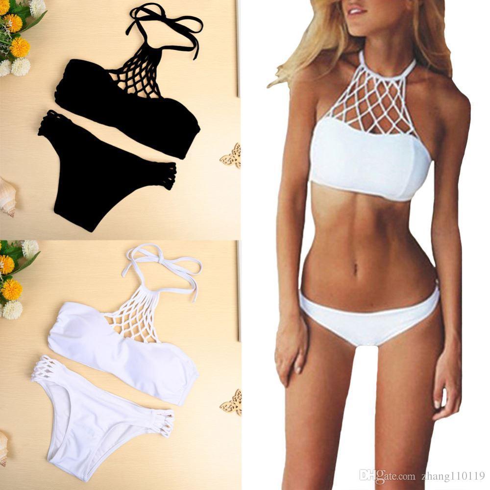 bdc376cd42f579 2019 New Women Bikini Set Halter Criss Cross Push Up Sexy Vintage Swimwear  Swimsuit Black/White 2018 Spring Summer Style From Zhang110119, $11.56 |  DHgate.