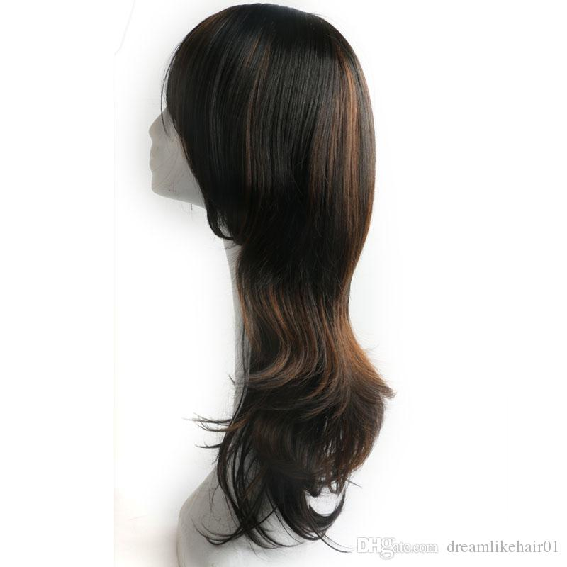 New Stylish Mix Color Black and Brown Long Wavy Africa American Wigs for Women Synthetic Ladys' Hair Wig/Wigs Full Wigs with Bangs