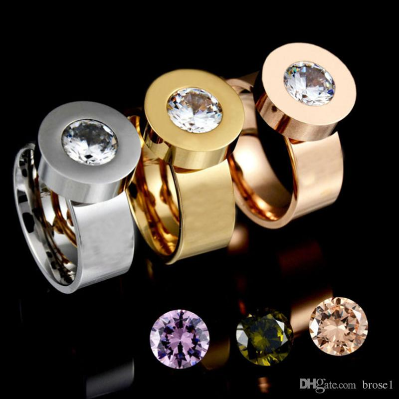 Factory direct four-color zircon replaceable stainless steel ring vacuum  gold plating does not fade titanium steel ring female