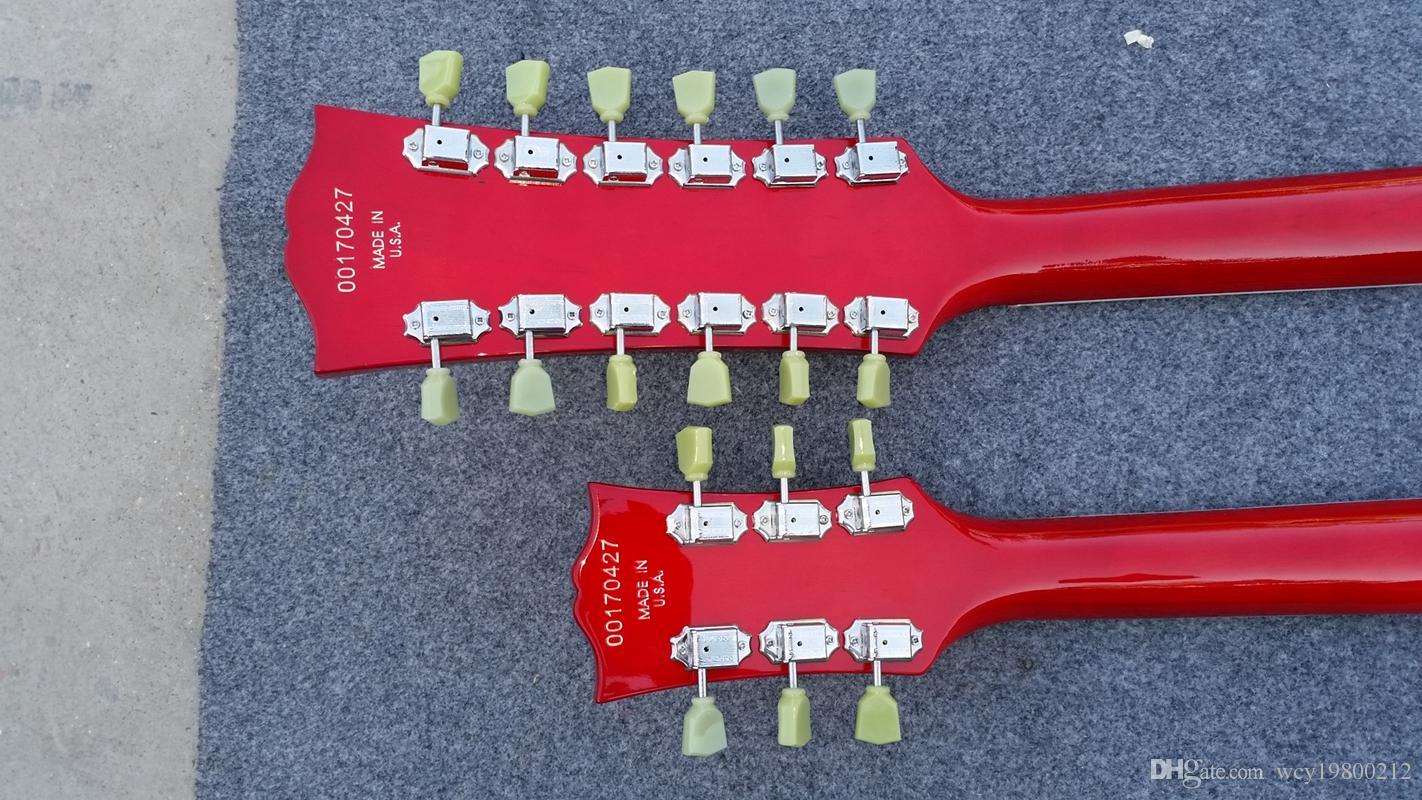 Fábrica feita EDS 1275 double necks guitarra elétrica Vinho Vermelho Jimmy Page Guitarra fotos reais mostram com frete grátis