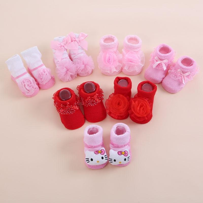 Großhandel Nette Neugeborene Baby Mädchen Socken Prinzessin Weiß Rot ...