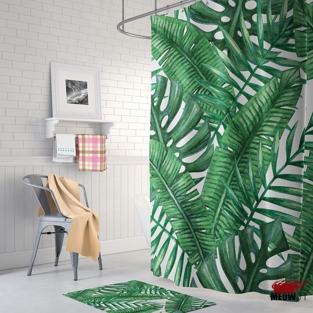 2018 Tropical Tungle Green Leaves Shower Curtain Printed Polyester ...