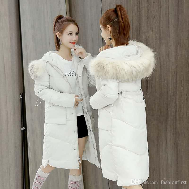 3adc7cb08610 2019 New 2018 Winter Down Quilted Jacket Korean Fur Hooded Coats ...