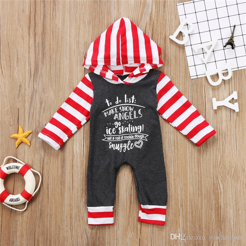 7a3521fc1144 Christmas Newborn Baby Boys Girls Gray Striped Hooded Romper Long ...